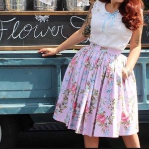 Pinup Couture Skirts - Pinup Couture Jenny Skirt in Floral Ribbon Print L
